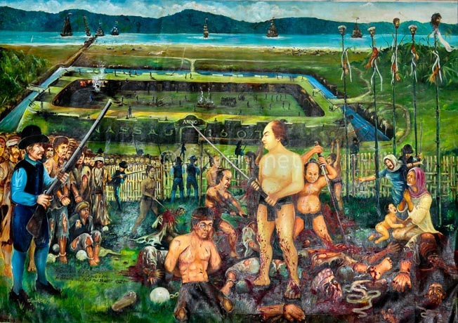lukisan gambaran pembantaian 44 saudagar bandaneira oleh belanda